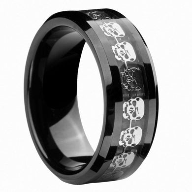 Infinity Black Tungsten Carbide Silver Skull Ring