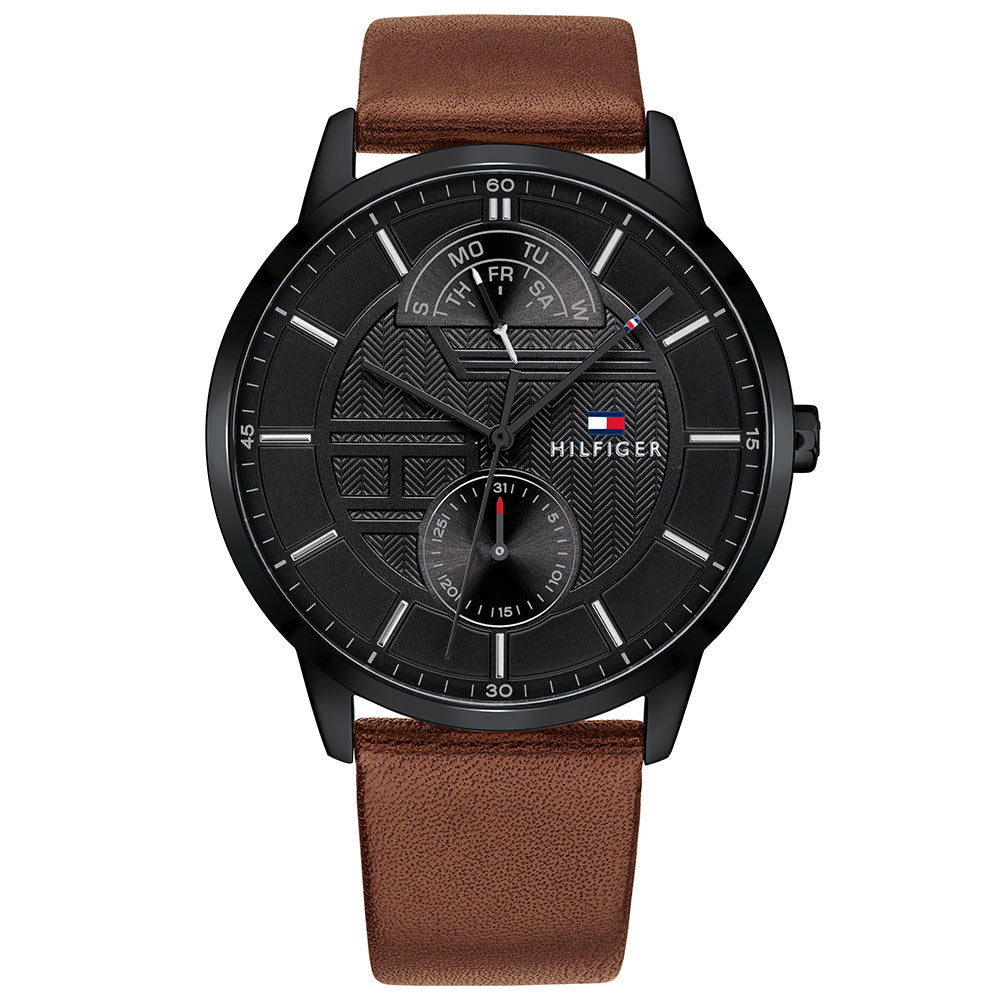Tommy Hilfiger Multi-function Brown Leather Men's Watch - 1791604