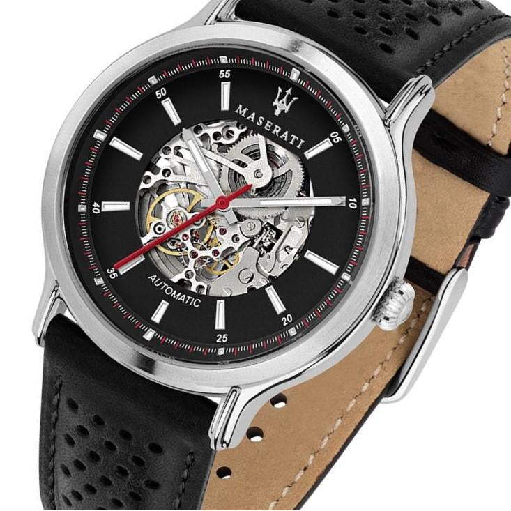Maserati Epoca 42mm Automatic Skeleton Black Leather Men's Watch - R8821138001