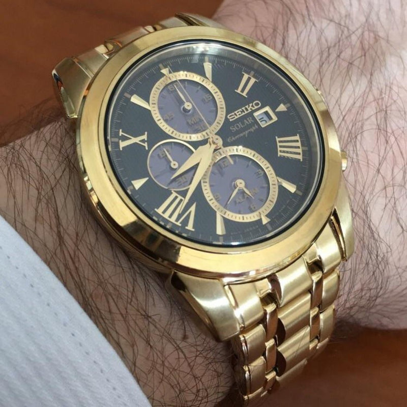 Seiko Le Grand Sport Gold Solar Chronograph Men's Watch - SSC196P-9