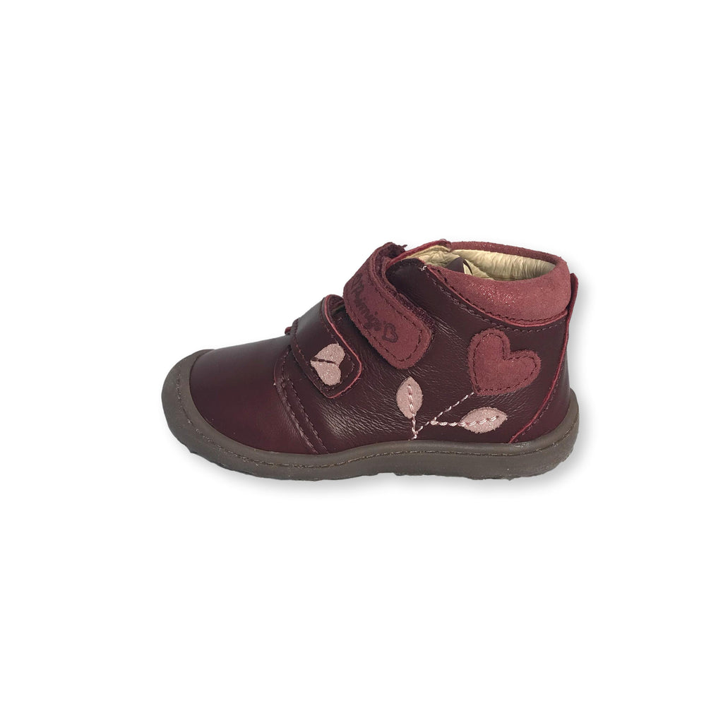 Lurchi Ibo Maroon Low-top Ankle Boots. From Cooshoo fitted children's shoes. Double View.