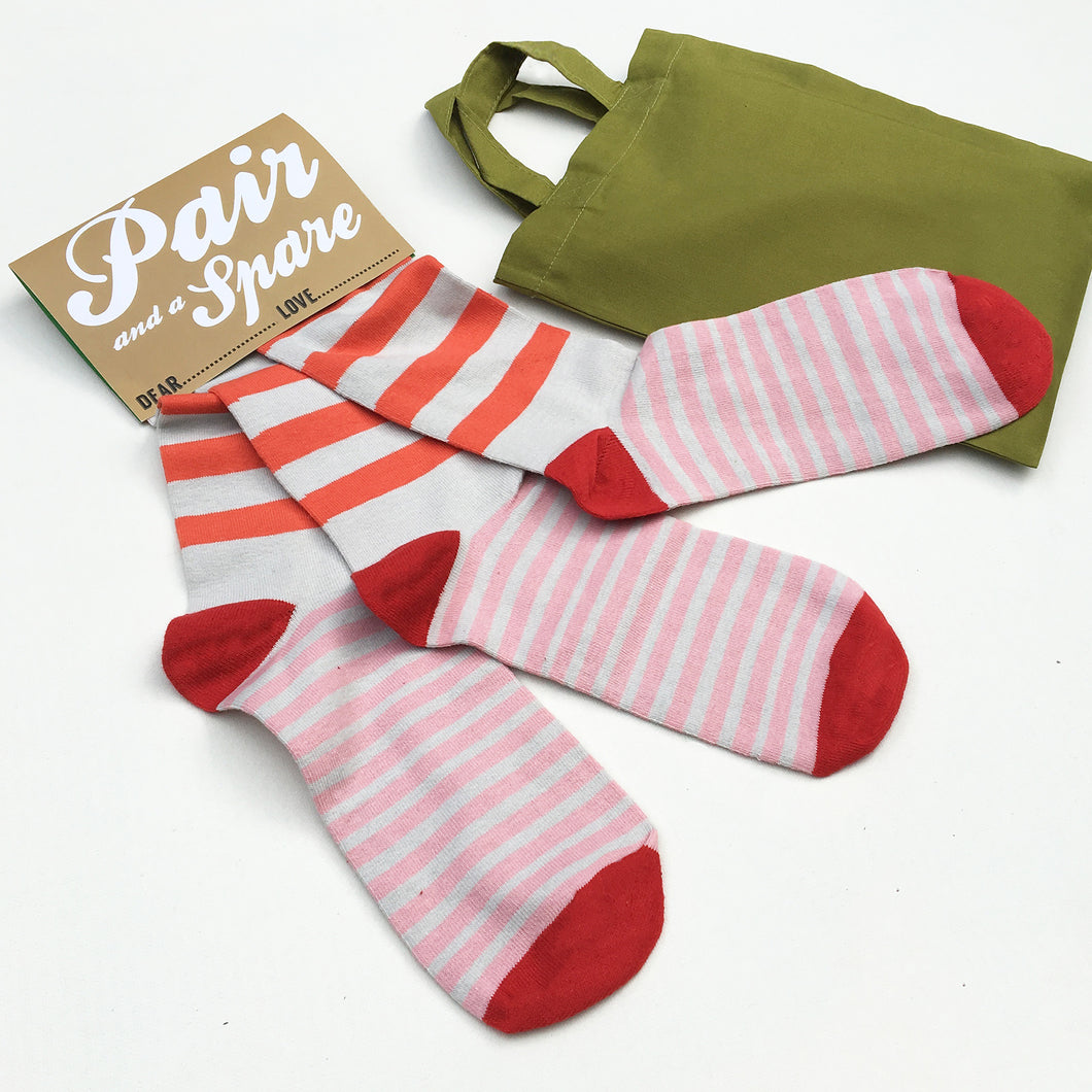 'Pair and a Spare' set of three socks (orange and pink stripes)