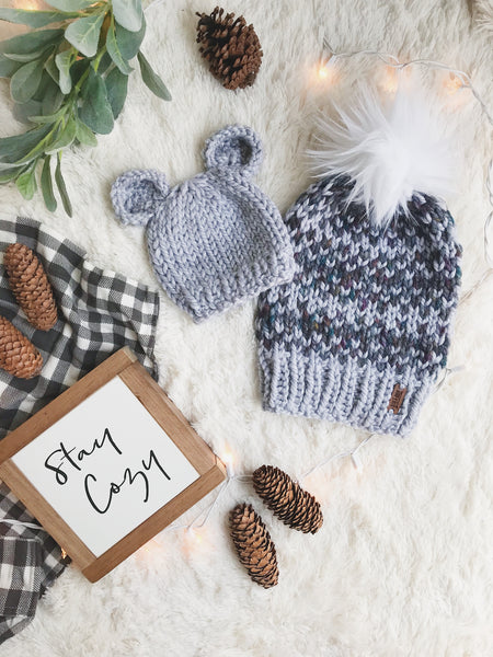 Mommy and Me SET Knitted Fair Isle Beanie with Faux Fur Pom Pom // The Hallowell and Baby Bear Hat