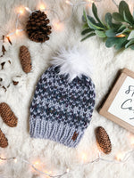 Adult Knitted Fair Isle Beanie with Faux Fur Pom Pom // The Hallowell Hat