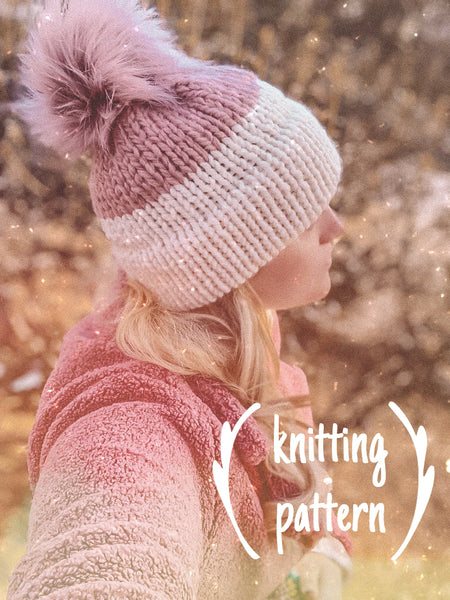 Knitting Pattern Adult Colorblock Double Brim Beanie // Colorblock