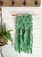 Palm Leaf Green Knit Wall Hanging with Copper Detail