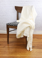 Handmade Knitted Blanket Afghan Throw Ivory White
