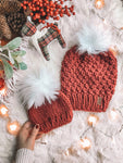 LIMITED EDITION Holiday Mommy and Me SET Beanie w/ Faux Fur Pom