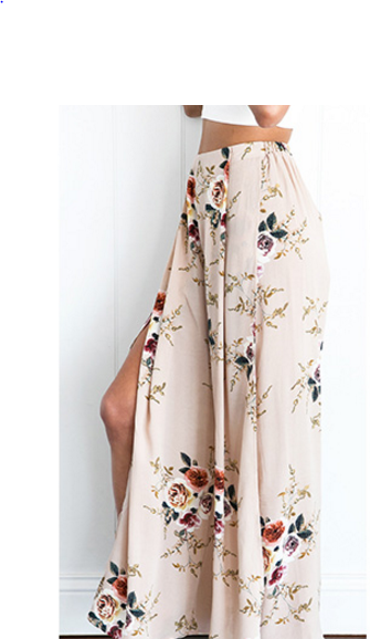 Side Split Wide Leg  Boho Long Pants