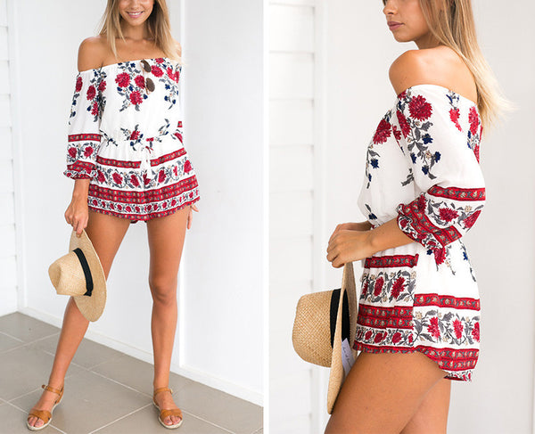 Gemma Off Shoulder Floral Romper