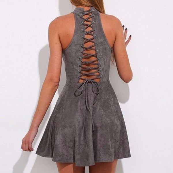 Backless Lace up Dress