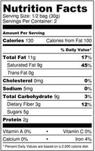 Nutrition Facts for Bakening Paleo & Vegan cinnamon cereal