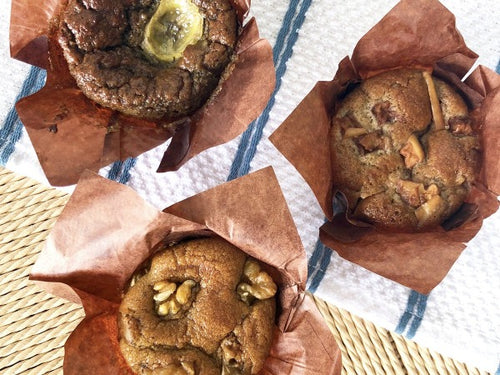 Gluten and dairy free banana muffins, walnut and apple muffins with no added fat or sugar