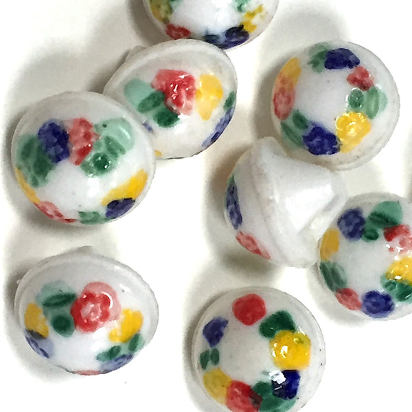 "Tiny Vintage Flower Buttons, White Milk Glass 1/4"", Set of 9 buttons"