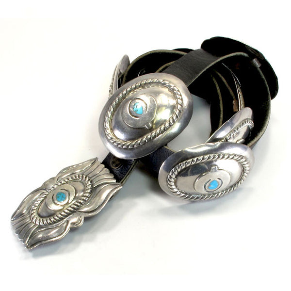 Sterling Silver & Turquoise Naja Concho Belt