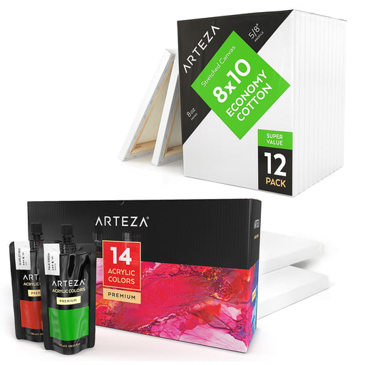 Acrylic Painter Supply Bundle AP+Canvas Bundle Arteza