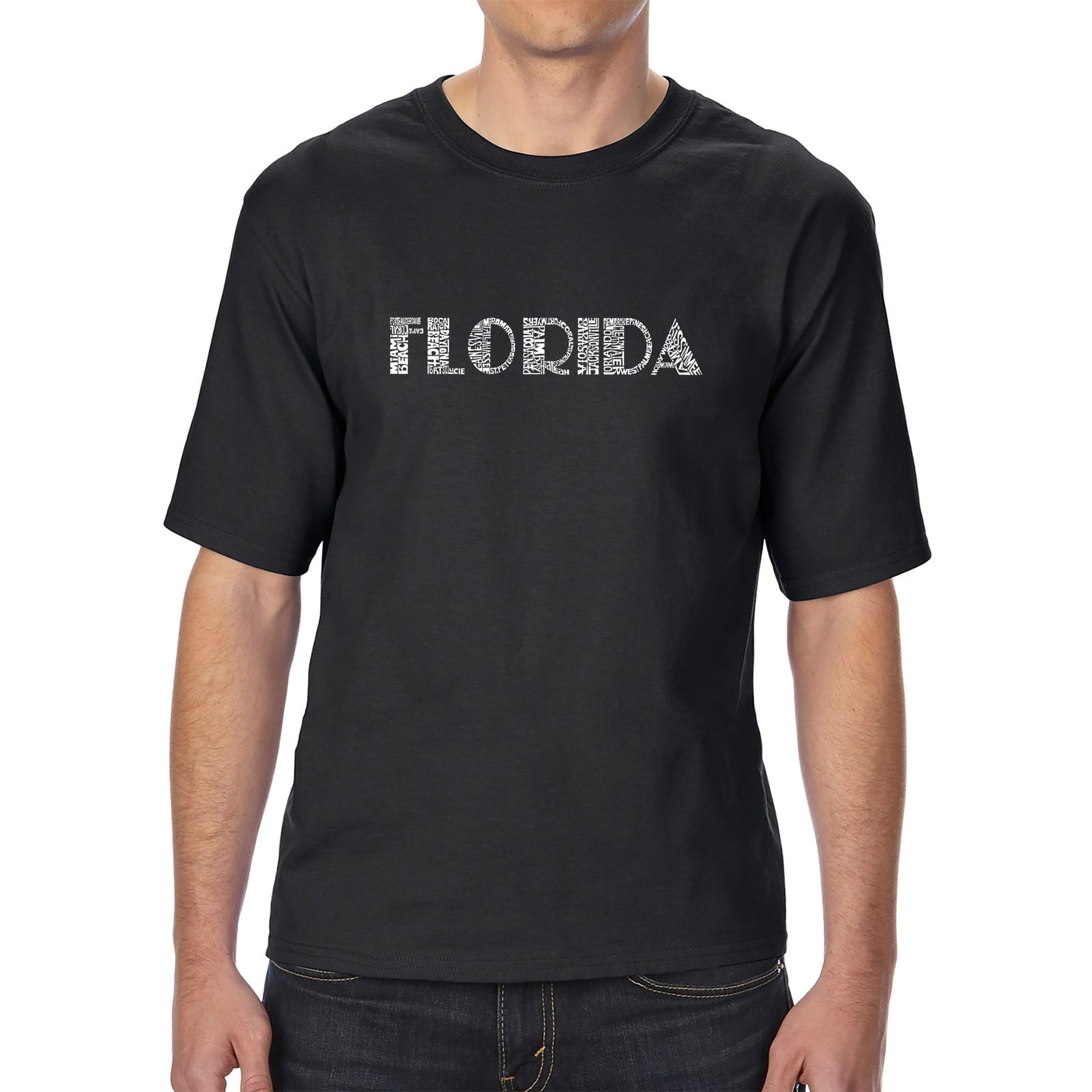 Men's Tall and Long Word Art T-shirt - POPULAR CITIES IN FLORIDA