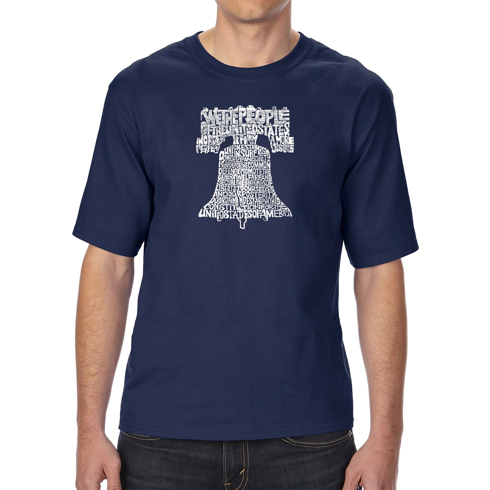 Men's Tall and Long Word Art T-shirt - Liberty Bell