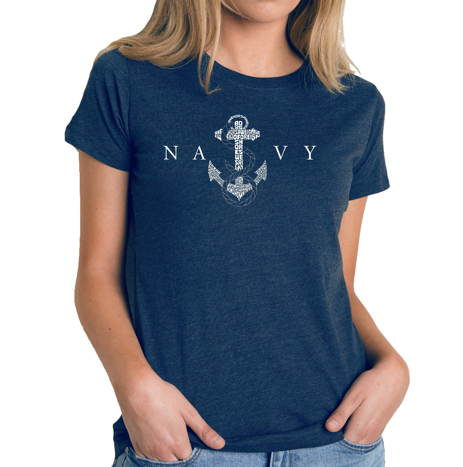 Women's Premium Blend Word Art T-shirt - LYRICS TO ANCHORS AWEIGH