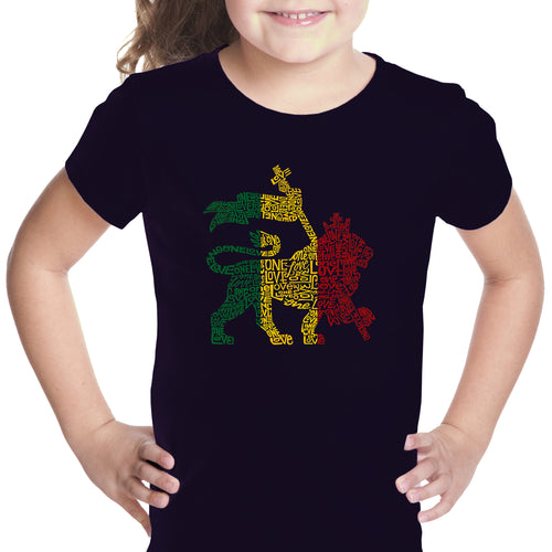 Girl's T-shirt - Rasta Lion - One Love