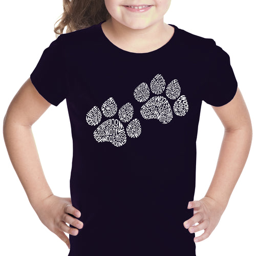 Girl's T-shirt - Woof Paw Prints