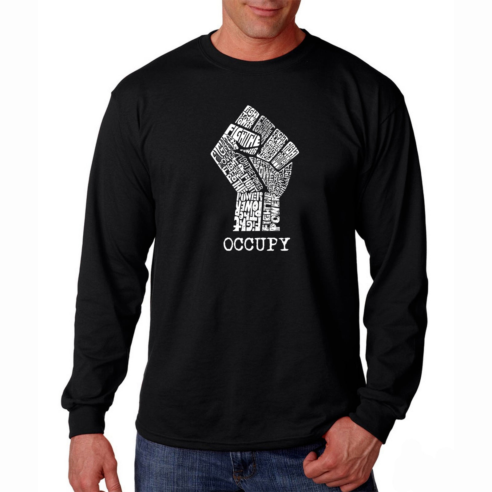 Men's Long Sleeve T-shirt - OCCUPY WALL STREET - FIGHT THE POWER