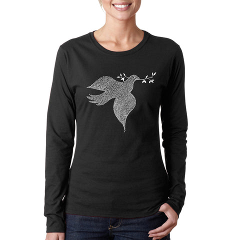 Women's Word Art Long Sleeve T-Shirt - Texas Skull