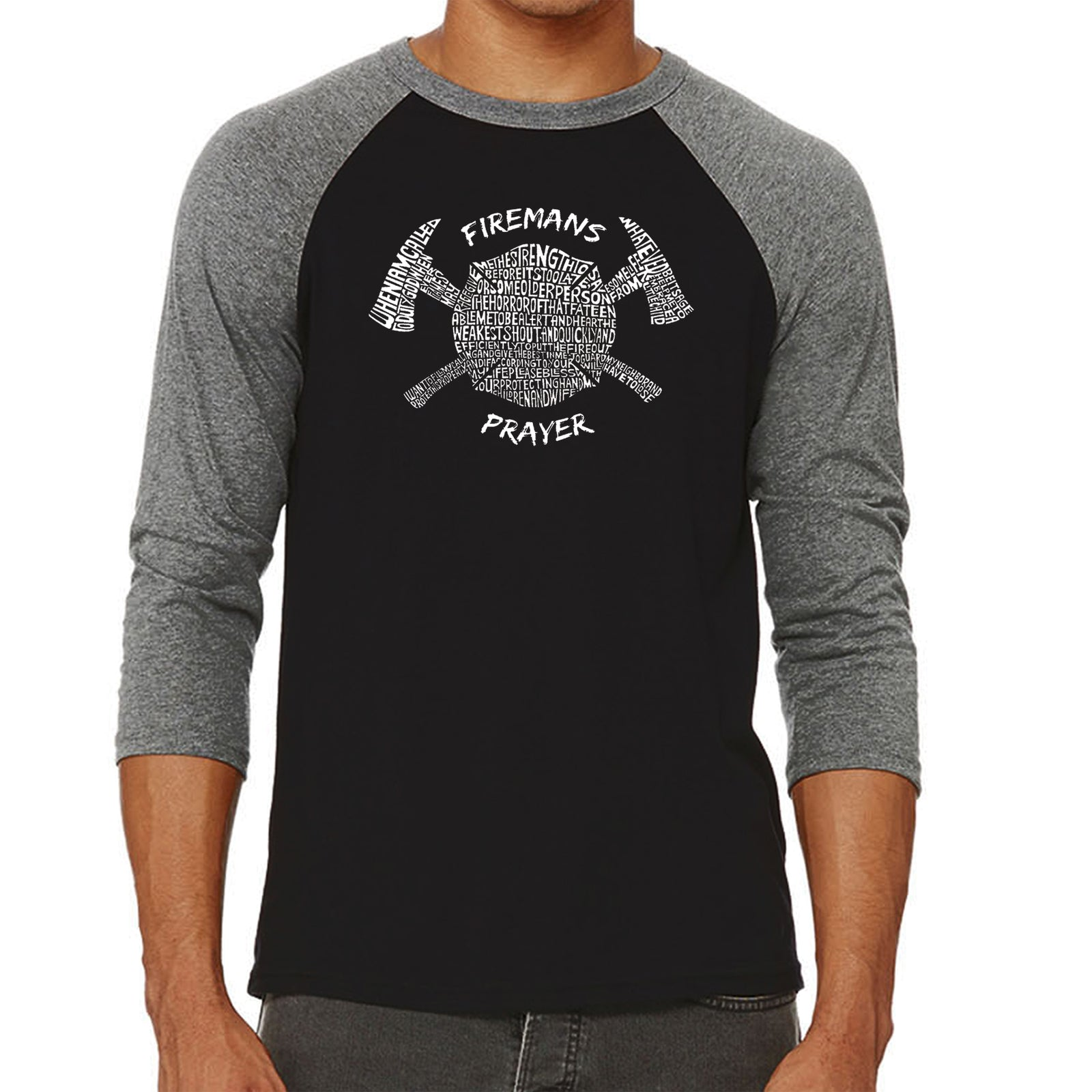Men's Raglan Baseball Word Art T-shirt - FIREMAN'S PRAYER