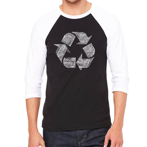 Men's Raglan Baseball Word Art T-shirt - 86 RECYCLABLE PRODUCTS