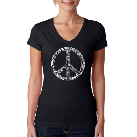 Women's V-Neck T-Shirt - 63 DIFFERENT GENRES OF MUSIC