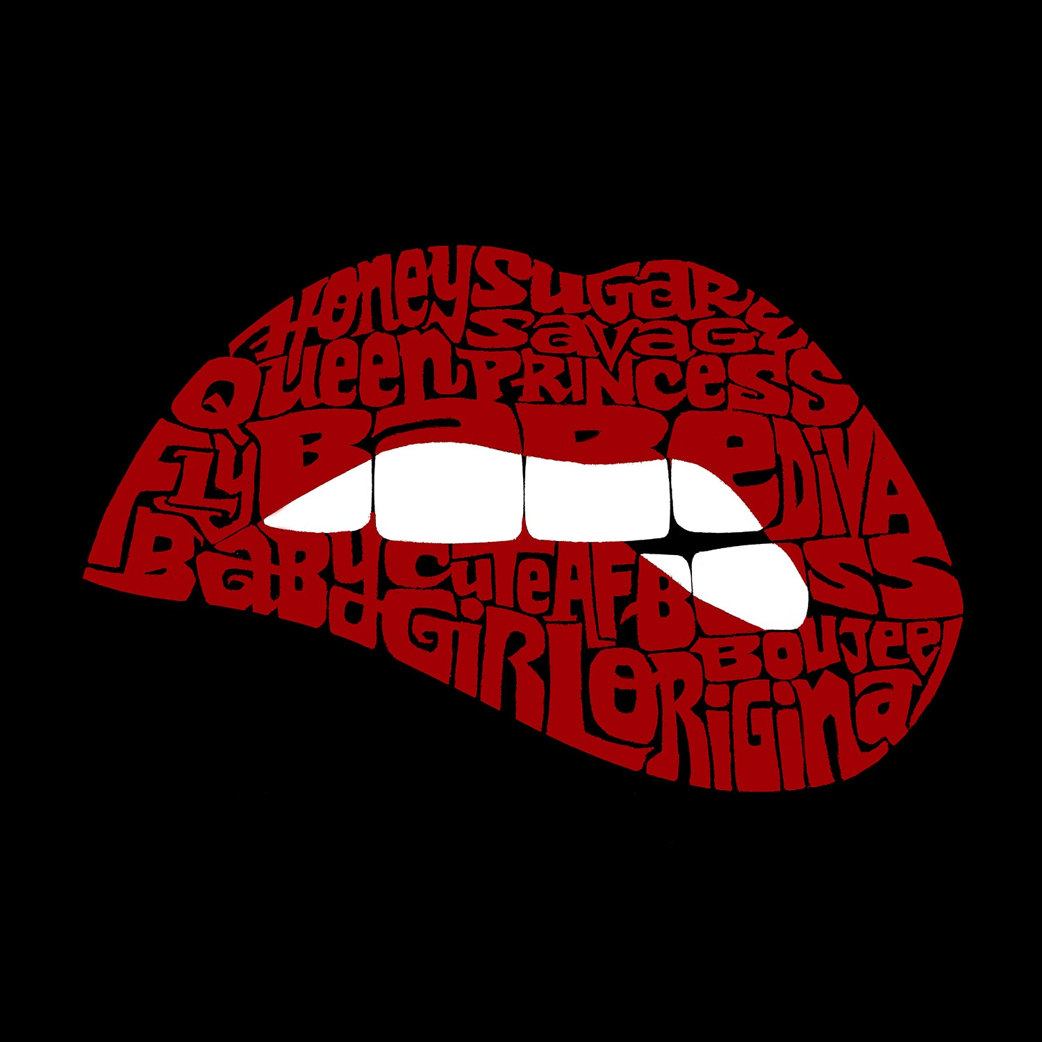 LA Pop Art Men's Premium Blend Word Art T-shirt - Savage Lips
