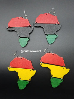 African Map Tri Fold Wooden Earrings