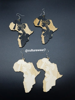 African Map & Woman Wooden Earrings
