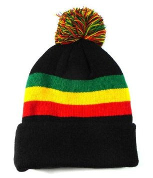 Rasta Beanie with ball Black/ Red, Gold, Green stripe #21