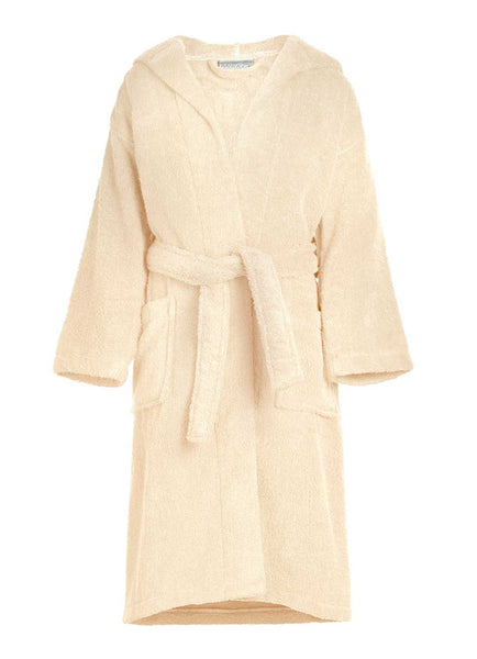 beige kids terry towel bathrobe