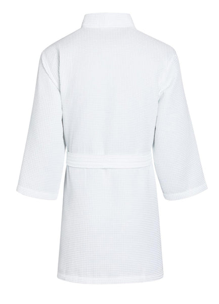 thigh length waffle robe back view white