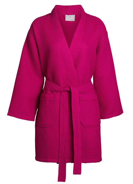 womens knit robe hot pink