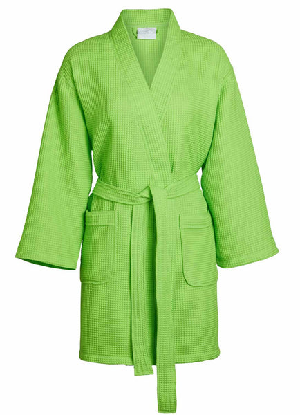 lime thigh length waffle robes