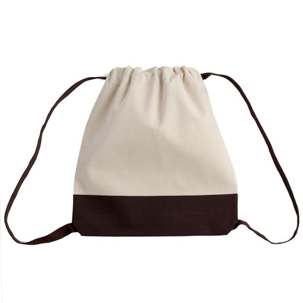 Two-Tone Promotional Canvas Drawstring Bag
