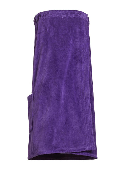 purple terry cloth and velour bathwrap towel with pocket