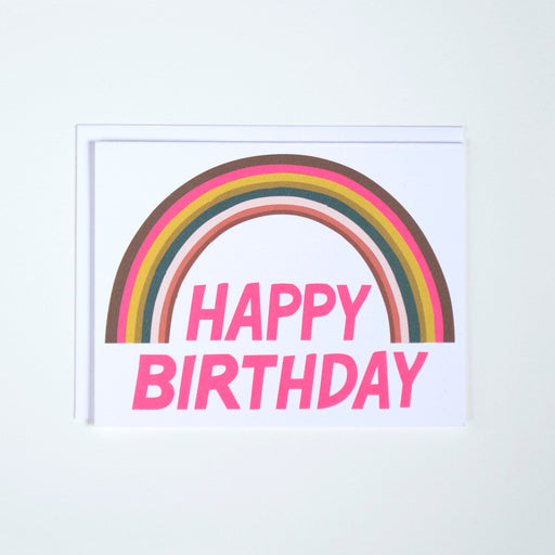 A note card from banquet Workshop with a vibrant neon rainbow and birthday greeting.