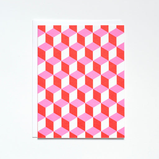 Pink and Red eye-popping geometric pattern Note Card