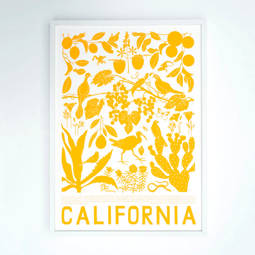 California Screen Print / Flora and Fauna of California / Plants and Animals from California