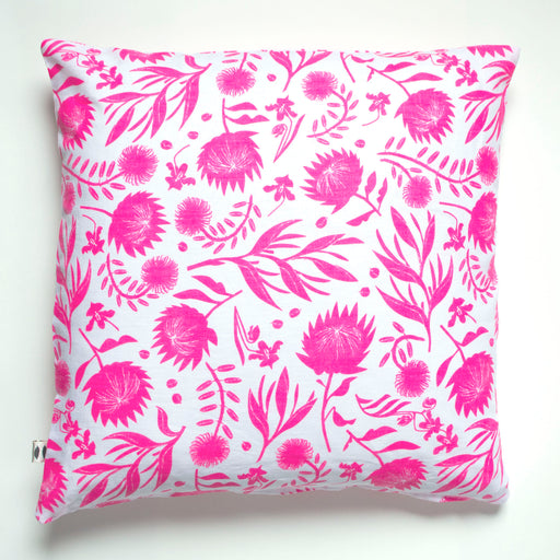 Neon Pink on White screen printed Tropical Flowers linen pillow