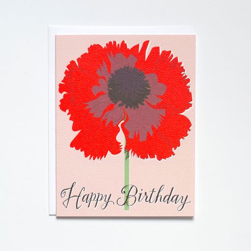 Happy Birthday Neon Red Poppy Note Card