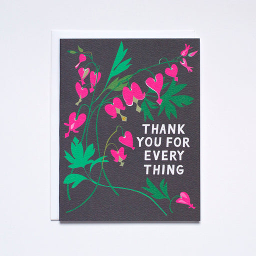 Bleeding Heart illustration / thank you for everything / thank you note card
