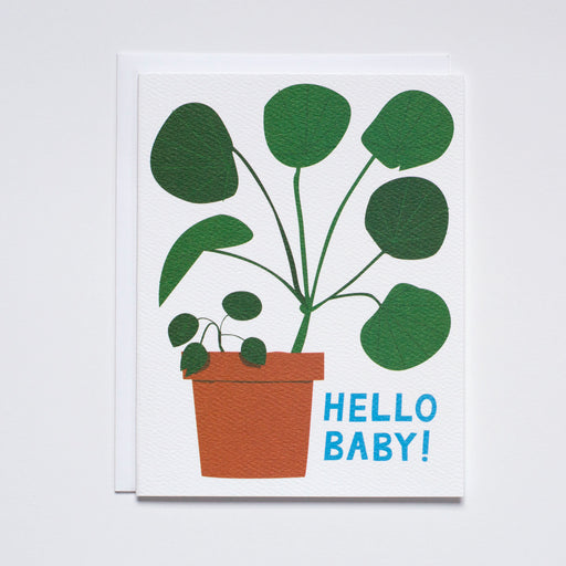 Baby Card/Congratulations on your new baby card/pilea pepermoioides/baby houseplants note card