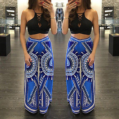 Palazzo summer casual pants boho elastic high waist flare pants baggy Women loose preppy trousers