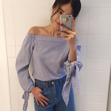 Women Sexy Blouses Slash Neck Off Shoulder Bow Long Sleeve Casual Tops Shirts Blue White Striped Party Blusas