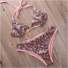 Vintage Retro Bling Sequin Bikini Set Pink Swimwear